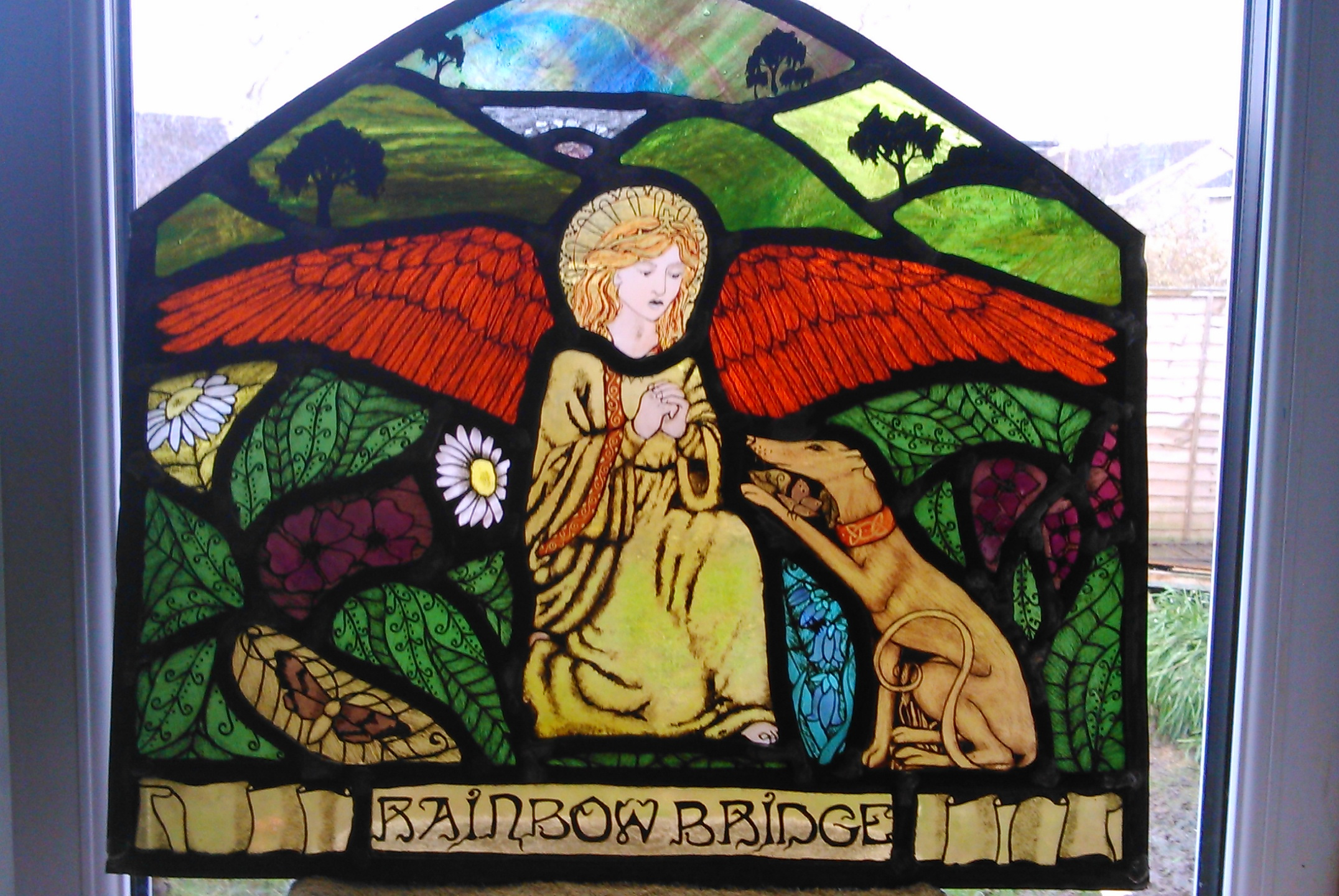 Rainbow Bridge Stained Glass Panel