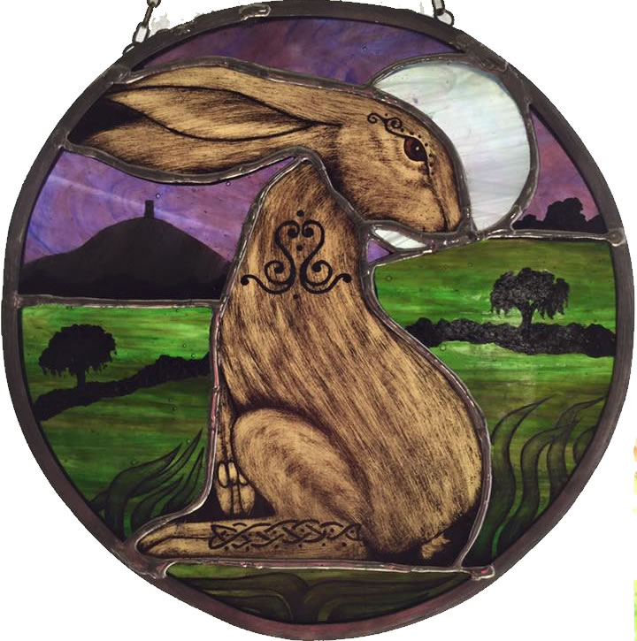 Celtic hare stained glass