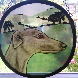 Silver grey hound stained glass