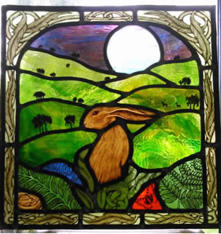 Staind Glass Moon Gazing Hare Panel