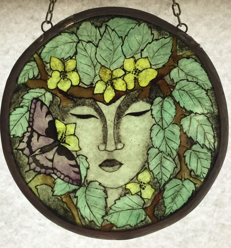 Green Lady Stained Glass