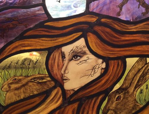 Hand made Spirit Of The Hare traditional stained glass original panel