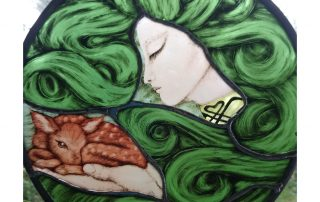 art nouveau green lady