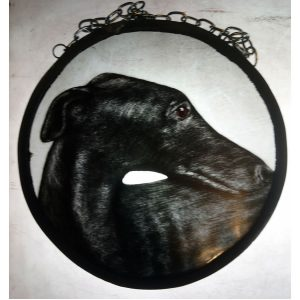 black greyhound Stain glass panel