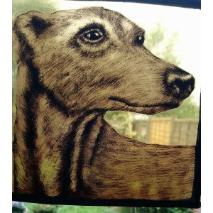 fawn greyhound head stain glass