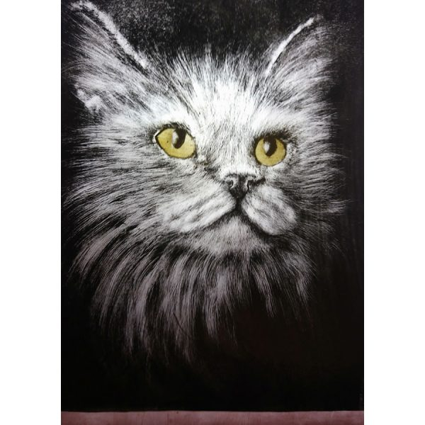 grey cat stain glass