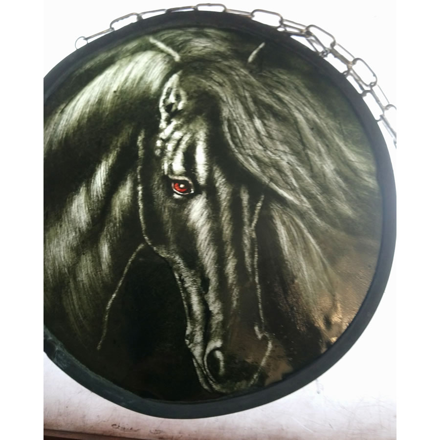 shadow grey horse stqin glass panel