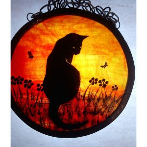 sunset cat stain glass