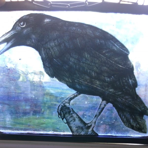crow stined glass